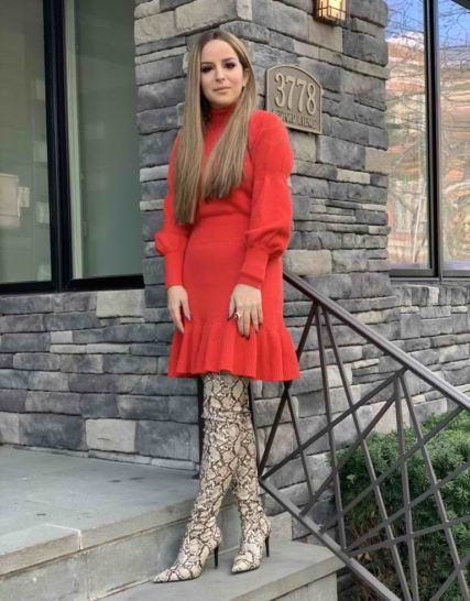 Red knitwear dress