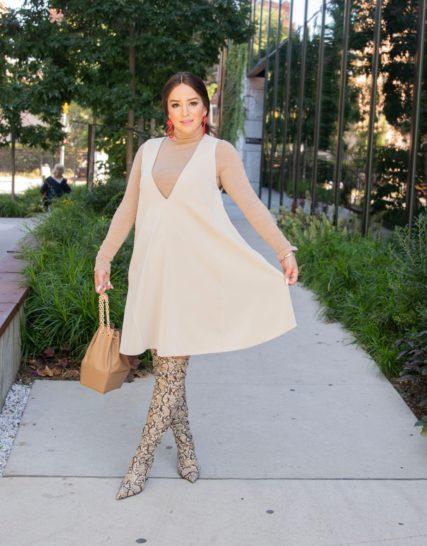 The v dress- beige