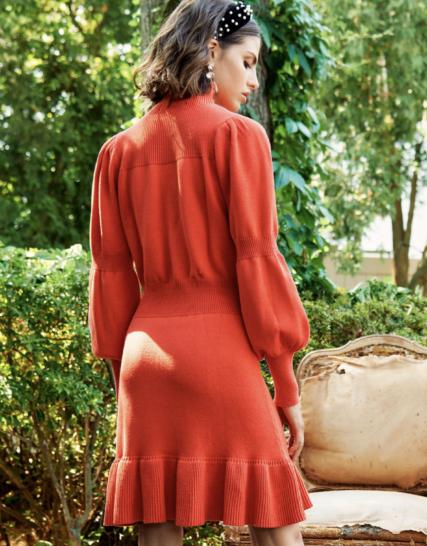 Red knitwear dress